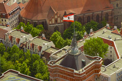 Aerial view of the flag of berlin on the top of Rotes Rathaus bu Royalty Free Stock Photo