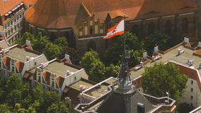 Aerial view of the flag of berlin on the top of Rotes Rathaus bu. Aerial view of the flag of berlin on the top of Rotes Rathaus Red City Hall building stock video