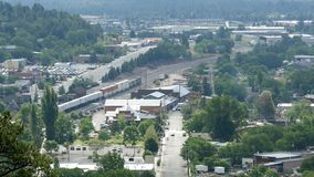 Flagstaff Arizona aerial view of train and city