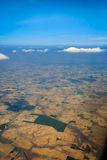 Aerial view of flat plains and farms  in USA. Aerial view of flat plains, farms and irrigation in USA Royalty Free Stock Images
