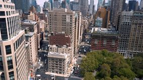 Aerial view of Flatiron building, New York, Manhattan. Residential and business buildings from above