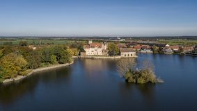 Aerial view of Flechtingen water castle in Saxony-Anhalt. Germany Royalty Free Stock Image