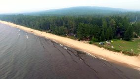 Aerial View: Flight over baikal stock video footage