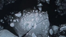 Aerial View Flight over the melting ice of the Northern Gulf The Frozen Finnish Gulf and shore in Melting Ice. Outstanding Scenery stock video footage
