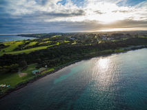 Aerial view of Flinders foreshore at sunset, Melbourne, Australia. Aerial view of Flinders foreshore at sunset. Mornington Peninsula, Melbourne, Victoria royalty free stock images