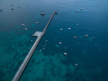 Aerial view of Flinders pier with moored boats. Melbourne, Austr Stock Image