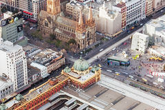 Aerial view of Flinders Street train station and St. Paul's Cath Stock Images
