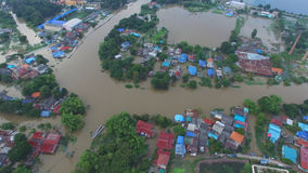 Aerial view of flood Royalty Free Stock Photo