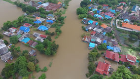 Aerial view of flood. In Ayutthaya Province,Thailand stock images