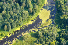 Aerial view on the flood land the great river Stock Photos