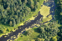 Aerial view on the flood land the great river Royalty Free Stock Images