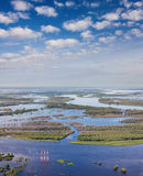 Aerial view flooded forest plains with power lines. Royalty Free Stock Photo