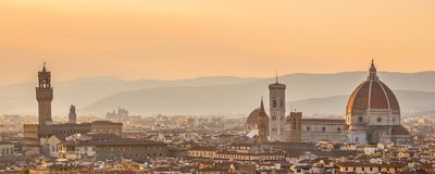 Aerial view of Florence with the Basilica Santa Maria del Fiore Duomo, Tuscany Italy Stock Photos