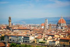 Aerial view of Florence with the Basilica Santa Maria del Fiore Duomo, Tuscany Italy. Aerial view of Florence with the Basilica Santa Maria del Fiore Duomo Stock Images