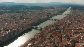 Aerial View of Florence, Italy, The Ponte Vecchio Old Bridge , Arno River 4K. Aerial View of Florence, Italy, The Ponte Vecchio Old Bridge, Arno River stock footage