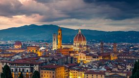 View of florence at night. Aerial view of Florence at night, Italy Stock Photography