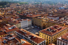 Aerial view of Florence and Piazza della Republica in Florence, Italy Royalty Free Stock Photos