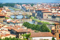 Aerial view of Florence with the Ponte Vecchio and the Arno river, Tuscany Italy Stock Photo