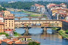 Aerial view of Florence with the Ponte Vecchio and the Arno river, Tuscany Italy Royalty Free Stock Image