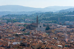 Aerial view of Florence with Santa Croce Basilica Royalty Free Stock Photography