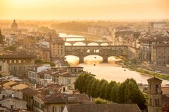 Aerial view of Florence at sunset  with the Ponte Vecchio and the Arno river, Tuscany Italy Royalty Free Stock Images
