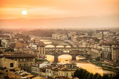 Aerial view of Florence at sunset  with the Ponte Vecchio and the Arno river, Tuscany Italy Stock Photography
