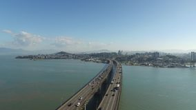 Aerial view Florianopolis bridge, Brazil. July, 2017. stock video