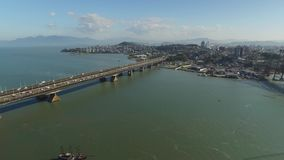 Aerial view Florianopolis bridge, Brazil. July, 2017. stock footage