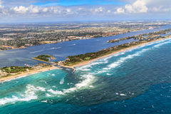 Aerial View on Florida Beach and waterway. Near Palm Beach Royalty Free Stock Images