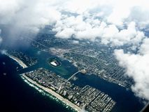 Aerial view of florida coast before hurricane Royalty Free Stock Photo