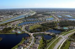 Aerial View Of Florida Highways. Photographed from helicopter flying over Florida highways Stock Image