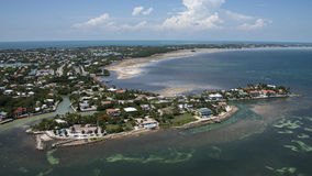 Aerial View of the Florida Keys. Helicopter view of the tropical coast of the Florida keys stock photography