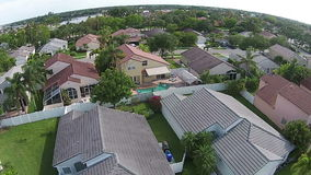 Aerial view of Florida neighborhoods stock footage