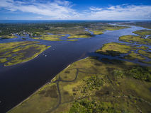 Aerial view of Florida river and swamps in Jacksonville Florida. Aerial view of Florida rivers and swamps in Jacksonville Florida Stock Photo