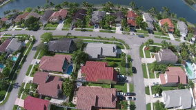 Aerial view of Florida waterfront neighborhoods stock video