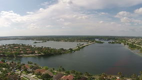 Aerial view of Florida waterfront neighborhoods stock video footage