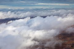 Flight above the clouds stock photo