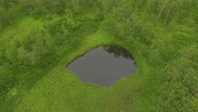 Aerial View. Flying across the lake to the copter. Flying through the treetops. stock footage