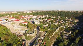 Aerial view Flying camera over of the old castle. Ukrine. aLviv. Pidgirtsi. Travel tourism adventure in wild nature. Camera bird eye view stock footage