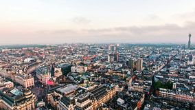 Aerial View Central London City Piccadilly Circus and Landmarks Stock Image