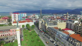 Aerial view from flying drone of Batumi stock footage