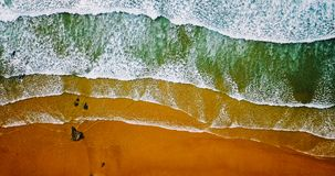 Aerial View From Flying Drone Of Ocean Waves Crushing On Beach Royalty Free Stock Image