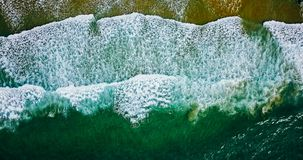 Aerial View From Flying Drone Of Ocean Waves Crushing On Beach Royalty Free Stock Photography