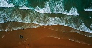 Aerial View From Flying Drone Of Ocean Waves Crushing On Beach Royalty Free Stock Photo