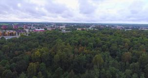 Aerial View. Flying over the beautiful autumn trees in forest. Aerial camera shot. Autumn / Fall landscape. Low altitude flight stock video footage