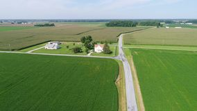 Aerial View Flying Over Corn and Soybean Fields and Farms Smyrna Delaware