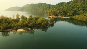 Aerial View. Flying over the tropical coast. Fisherman house. Krabi, Thailand stock footage