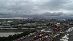 Aerial View Flying Towards Center City Philadelphia Skyline.  stock footage