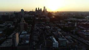 Aerial View Flying Towards Center City Philadelphia Skyline.  stock video footage