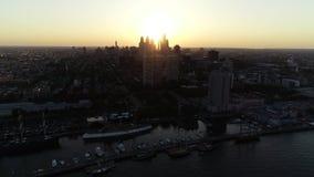 Aerial View Flying Towards Center City Philadelphia Skyline.  stock video